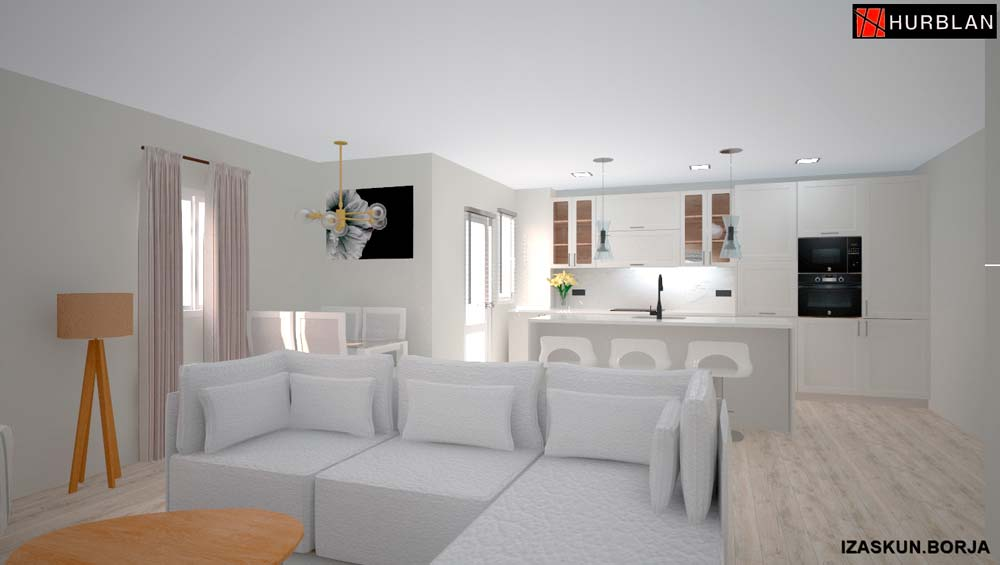 Muebles de Cocina boceto 3d Llodio Laudio por Hurblan